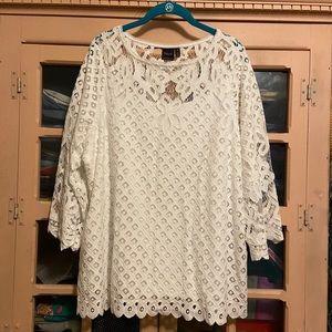 NWT Stunning Rafaella Lined White Lace Tunic